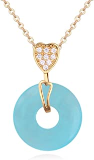 Winter's Secret 18K Diamond Accented Heart with Circle Shape Opal Pendant Fashion Girl Necklace