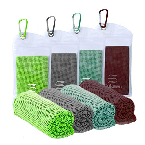 """Cooling Towel Instant Evaporative Cooling,Snap Cooling Towel for Sports,Yoga,Golf,Gym,Neck,Workout and More(40""""x 12"""") (4pack-Green+dimgray+palegreen+Maroon)"""