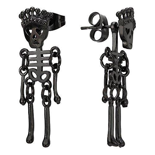 Uomo Donna Nero Corona Teschio Cranio Scheletro Osseo, Orecchini a Lobo, Acciaio Inossidabile, 2 Pezzi