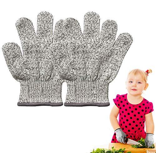 Schnittfeste Handschuhe Kinder,Schnittschutzhandschuhe Arbeitshandschuhe Level 5 Schutz Lebensmittelecht,küchenhandschuhe schnittfest für Küche,Messer zu schärfen,Holz zu schnitzen für 8-12 Jährige,XS