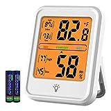 Termómetro de habitación Higrómetro digital Indicador de humedad Termómetro de interior Monitor de temperatura y humedad de la habitación con luz de fondo para oficina en casa