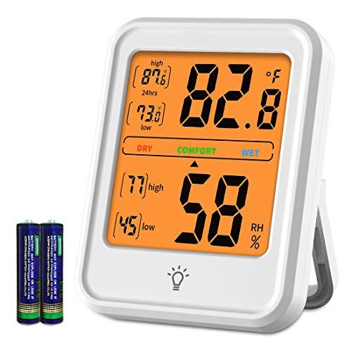 Digitales Hygrometer Innenthermometer Genaues Temperaturmessgerät Feuchtigkeitsmesser mit Hintergrundbeleuchtung für das Gewächshaus im Home Office (weiß)