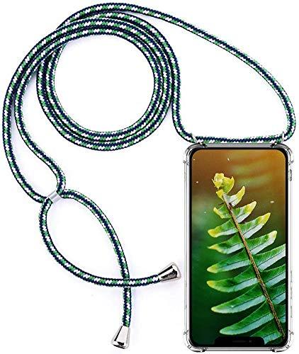 Herbests Kompatibel mit Huawei P Smart 2018 Handykette Hülle mit Umhängeband Durchsichtig Necklace Hülle mit Kordel zum Umhängen Schutzhülle Silikon Handyhülle Kordel Schnur Case,Grün Weiß