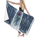 Beauty The Beast Rose Beach Towel,Soft Absorbent Bath Towel Hand...