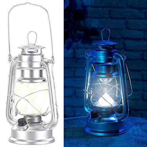 Lunartec Sturmleuchte: Dimmbare LED-Sturmlampe, Batterie, 200 lm, 3W, tageslichtweiß, silbern (Laternen Vintage)