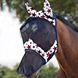 Harrison Howard CareMaster Máscara de mosca de caballo Nariz larga con orejas Protección UV para caballo-Estrella de los sueños (L)