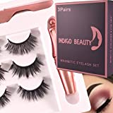Indigo Beauty 3D Faux Mink Magnetic Eyelash, Glue-free, Reusable, Magnetic eyelash set of three lashes, The complete package includes a pair of tweezers, a magnetic eyeliner and three pairs of lashes