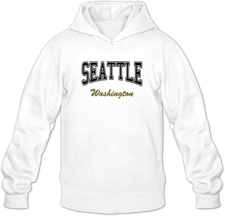 Mens Seattle Washington Funny White Hoodie Outerwear