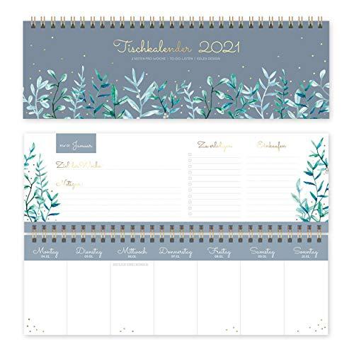 Tischkalender Wochenkalender 2021 quer | Tischquerkalender als Wochenplaner für Büro oder Zuhause, mit Wochennummern, Feiertagen und Platz für Extras