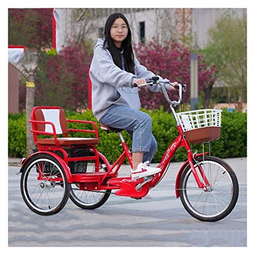 ZFF Triciclo Adulto con Cestas Y Asiento Trasero 20 Pulgadas Bicicletas De 3 Ruedas Tres Ruedas Cruiser Trike por Recreación Compras Picnics Ejercicio Rojo