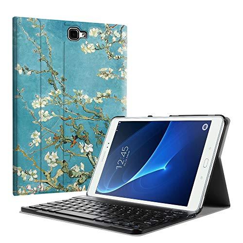 Fintie Tastatur Hülle für Samsung Galaxy Tab A 10,1 Zoll 2016 T580N/ T585N Tablet - Ultradünn leicht Schutzhülle mit magnetisch Abnehmbarer Drahtloser Deutscher Bluetooth Tastatur, Mandelblüten