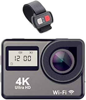 XRQ Cámara de acción 4K Ultra HD Sports DV 30 Metros Sports170 Degree Super Wide Angle Casco CAM WiFi Cámara subacuática Impermeable Pantalla DualGris