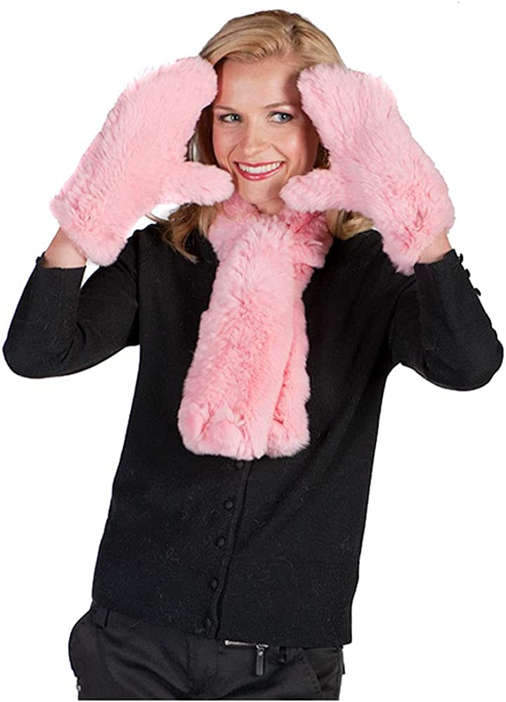 Knitted Fur Scarf and Arlington Mall Glove - Pink Set Now on sale Petunia