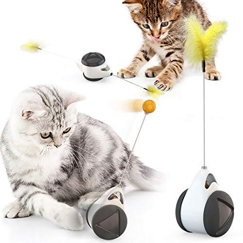 LucaSng - Giocattolo interattivo per gatti, giocattolo bilanciato, con piuma di gatto, dondolo per gatti, con palla gatta e piuma, per gatti e gattini (bianco e nero)