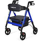 OasisSpace Heavy Duty Rollator Walker - Bariatric Rollator Walker with Large Seat for Seni...