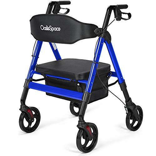 OasisSpace Heavy Duty Rollator Walker - Bariatric Rollator Walker with Large Seat for Seniors Support Up 500 lbs (Blue)