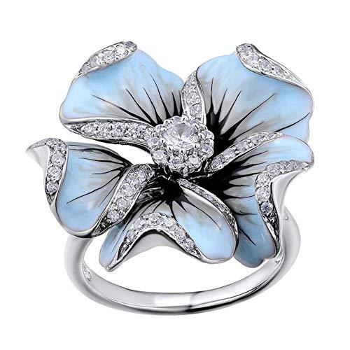 Jiacheng29_ Anillo de dedo de la flor del esmalte con incrustaciones de diamantes de imitación