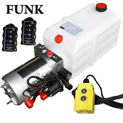Hydraulikaggregat, Hydraulikpumpe mit 7 Liter Tank und Kabelfernbedienung + Funkfernbedienung, 12V 180 bar 2000 Watt (2 x Funkfernbedienung)