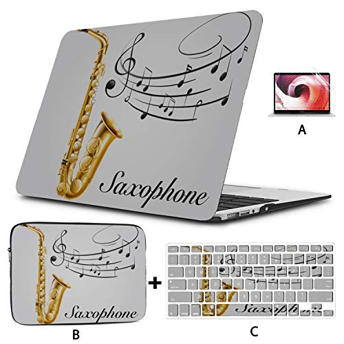 Laptop Case Musical Notes Vibes from Saxophone Mac Air Case Hard Shell Mac Air 11'/13' Pro 13'/15'/16' with Notebook Sleeve Bag for MacBook 2008-2020 Version