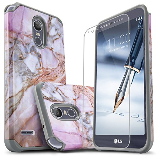 LG Stylo 3 Case, LG Stylo 3 Plus Case, Starshop [Shock Absorption] Dual Layers Impact Advanced Protective Phone Cover with [Premium HD Screen Protector Included] (Marble Pattern)
