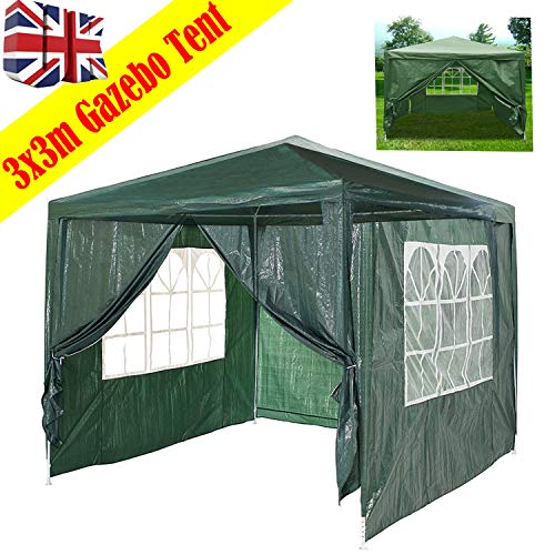 Waterproof Gazebo Outdoor Party Wedding Event Shelter Tent With 4 Removable Side Walls (3 with Windows 1 with Zip) For All Seasons(Green, 3x3m)