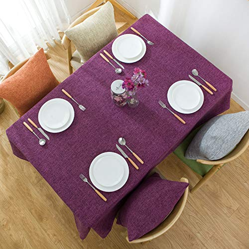 CYYyang Manteles de Mesa para Fiesta Antimanchas Resistente a Líquidos de Estilo Moderno para Mesa Mantel de Lino Color Liso de algodón y Lino Simple