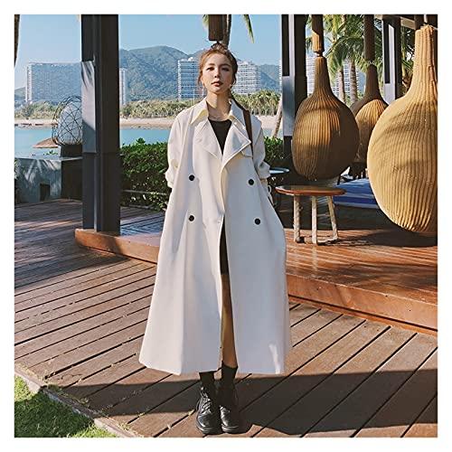 SSMDYLYM Guarreteo de mujer elegante con cinturón dama cubierta abrigo cortavientos hembra ropa exterior primavera ropa de otoño (Color : White, Size : S)