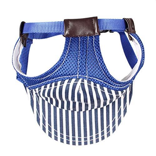Pet Supplies Gestreifte Spielraum-Haustier-Hut Outdoor Sports Breathable Hat Adjustable, Größe: L (Kaffee) Huangchuxin (Color : Blue)
