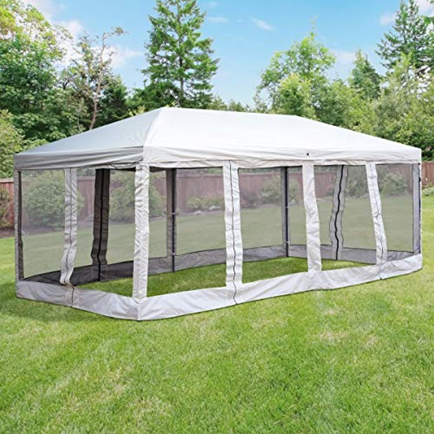 Pop Up Canopy Tent Gazebo 10' x 20' Pavilion Removable Mesh Sidewalls Sun Shade Shelter Wedding Party Outdoor Event Park Garden Patio Beige Carry Bag Foldable Frame