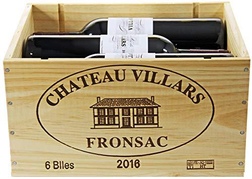 Château Villars 2016 A.O.C. Bordeaux-Fronsac Rotwein trocken in original Holzkiste OHK (6 x 0,75l)