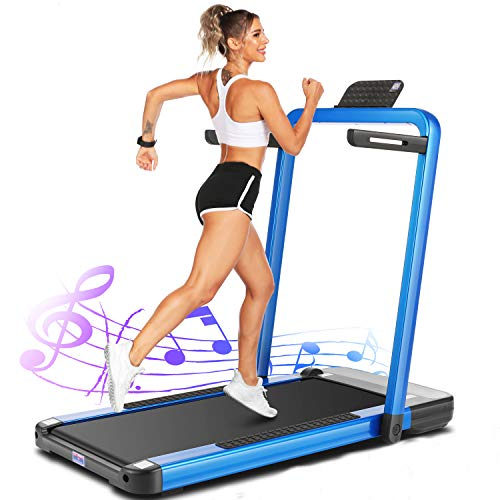 ANCHEER Treadmills for Home,2 in 1 Folding Treadmill Machine with Remote Control and Bluetooth Speaker, New Levels Under Desk Electric Treadmill forHome265lbsWeightCapacity