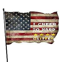 American Flag Retro I Cheer So Hard I Sweat Glitter House Flag 3x5 Ft Spring Flag Double Sided Garden Flag Anti-ultraviolet for Summer