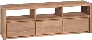 mewmewcat Teca Mueble de TV Madera Maciza Acabado Natural 120x30x40cm Mobiliario Incluye 3 Compartimentos y 3 cajones