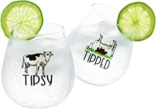 Drinking Divas 'Tipsy' and 'Tipped' Wine Glasses - Set of 2 Stemless Rolling Tumblers with Sayings | For Whiskey & Cocktails | Cute & Funny Cow Gifts for Mom, Girlfriend, Wife, Best Friend, Sister