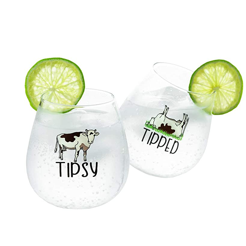 Drinking Divas 'Tipsy' and 'Tipped' Wine Glasses - Set of 2 Stemless Rolling Tumblers with Sayings   For Whiskey & Cocktails   Cute & Funny Cow Gifts for Mom, Girlfriend, Wife, Best Friend, Sister