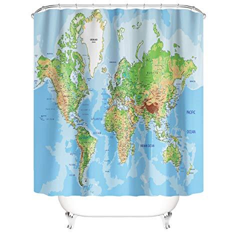 Duschvorhang mit Weltkarten-Motiv, für Badezimmer, Bildung, Geographie, Kontinente, Länder, Hauptstädte, Ozeane, Berge, Badezimmer-Vorhang, Dekor, blauer Polyester-Stoff mit Haken, 183 x 183 cm