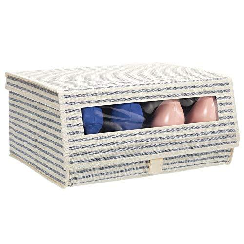 mDesign Caja para Zapatos de Tela – Cajas apilables con Ventana, Cierre de Cierre de Gancho y Bucle y Tapa abatible – Cajas organizadoras para armarios o estantes – Crudo/Azul