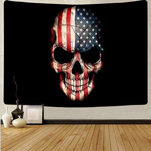 Tapiz de seta de cráneo colorido de dibujos animados tapiz de arte de cráneo mágico sala de estar decoración del hogar tela de fondo A9 130x150cm