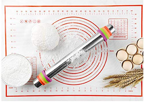 Global-store Rolling Pin, Stainless Steel Adjustable Roller Pin with Silicone Baking Mat,Silicone Baking Brush, 4 Removable Thickness Rings for for Baking Dough, Pastries, Pasta, Pizza, Pie, Cookies