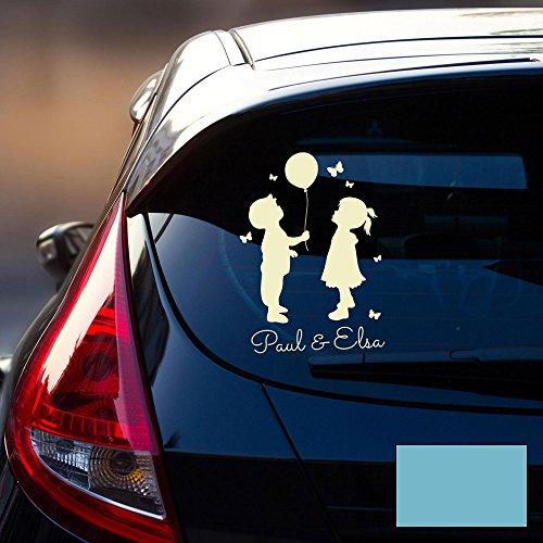 ilka parey wandtattoo-welt Autotattoo Kinder Autoaufkleber Heckscheibe Junge und Mädchen Luftballon Wunschname M2196 - ausgewählte Farbe: *lichtblau* ausgewählte Größe: *M - 20cm breit x 30cm hoch*