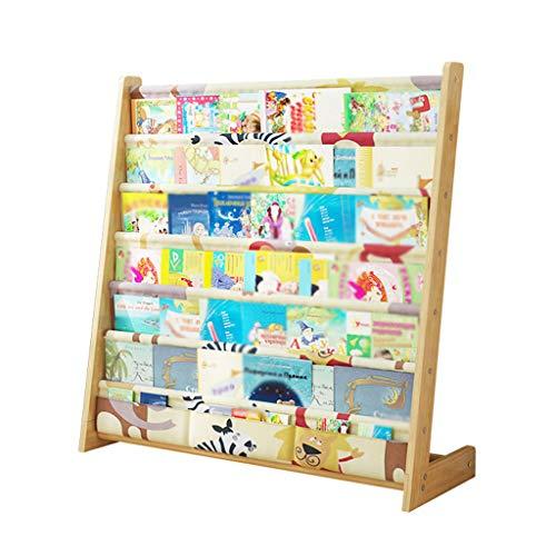 Petites étagères de plancher en bois solide de ménage, support simple de stockage d'étagère de jardin d'enfants (Color : Natural)