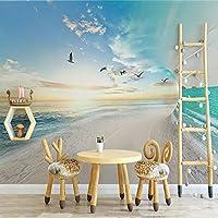 3D写真の壁紙砂浜海空自然風景大きな壁画リビングルーム寝室の背景紙の壁紙壁画-400x280cm