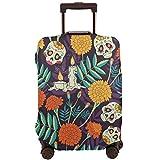 Delerain - Funda para equipaje de viaje, diseño de calavera caléndula y flores,...