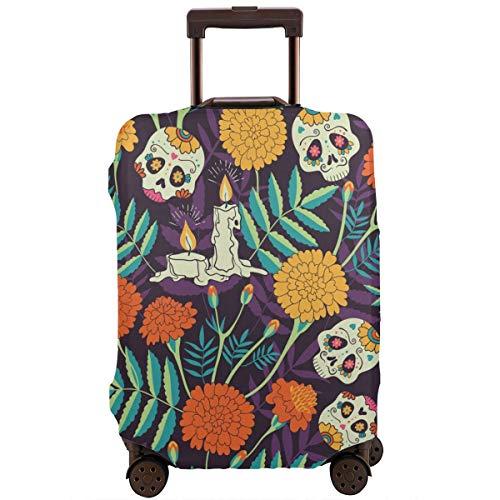 Delerain - Funda para equipaje de viaje, diseño de calavera caléndula y flores, lavable con cremallera, para maletas de 18 a 32 pulgadas de alto