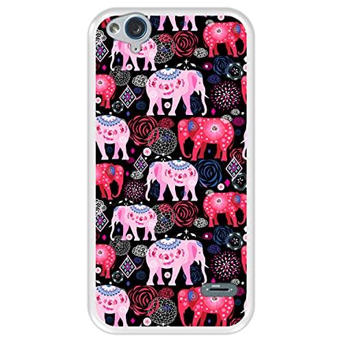 Hapdey silikon Hülle für [ ZTE Blade S6 Flex ] Design [ Helles Muster von rosa & roten schönen Elefanten ] Transparenz Flexibles TPU