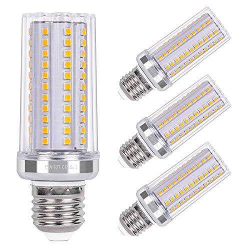 SanGlory 15W E27 LED Mais Birne, 108 X 2835 SMD LED Leuchtmittel E27 statt 120W Glühlampe, 3000K Warmweiß E27 Maiskolben 1720LM Energiesparlampe E27 LED Birnen Nicht Dimmbar, AC 220-240V, 4er Pack