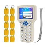 KDL RFID Lector de tarjetas inteligentes Escritor NFC 13.56MHz Copiadora 125KHz Duplicador Software de decodificación de múltiples frecuencias Soporte USB con Llaves de doble frecuencia grabables