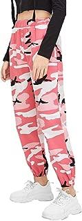 Women's Floral Camouflage Pants Sport Print High Waist Trousers Jogger Pants