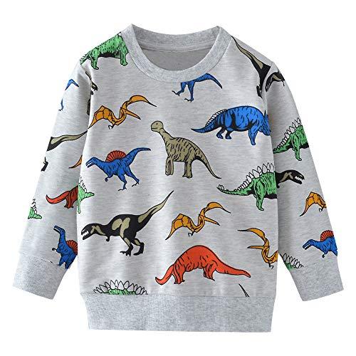 MOLYHUA Kinder Jungen Dinosaurier Sweatshirt Langarm Top T-Shirt Casual Baumwolle Tee Shirts Kleinkind Kleidung für 2-8 Jahre Gr. 5-6 Jahre, 01 Dinosaurier