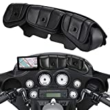 TUINCYNオートバイレザーウィンドシールドバッグサドル3ポーチポケットフェアリングエレクトラストリートグライドトリック1996-2013、ブラック